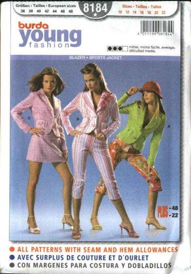 Burda Sewing Pattern 8184 Misses Size 10-22 Jackets Blazer