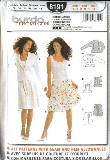 Burda Sewing Pattern 8191 Misses' Size 6-16 Jacket Top Skirt