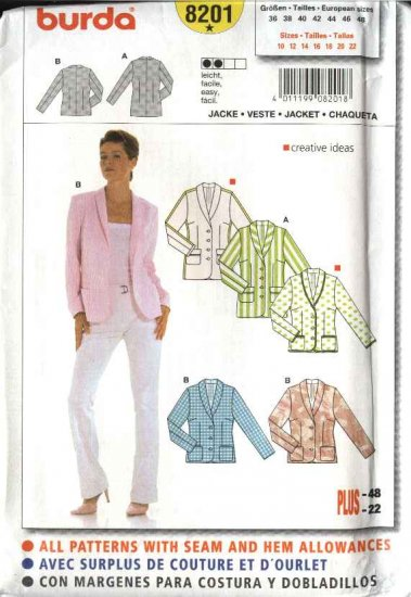 Burda Sewing Pattern 8201 Misses Size 10-22 Easy Fitted Jacket
