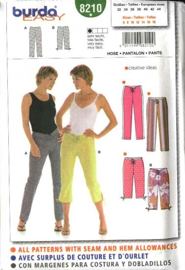Burda Sewing Pattern 8210 Misses Size 6-18 Easy Low-rise Fitted Long Cropped Pants Capris