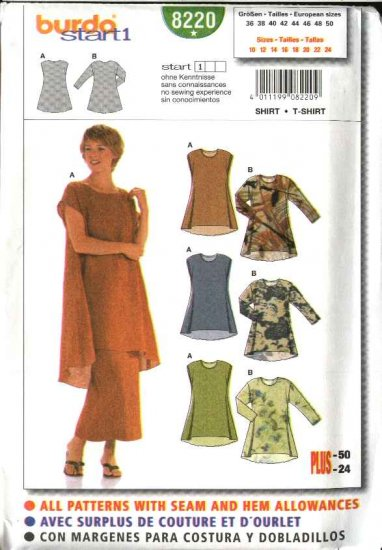 Burda Sewing Pattern 8220 Misses Size 10-24 Easy Pullover Tops