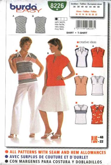 Burda Sewing Pattern 8226 Misses  Size 10-22 Easy Pullover Fitted Shirts & T-Shirts