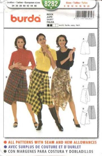 Burda Sewing Pattern 8282 Misses Size 8-20 Easy  Mock Wrap Skirt