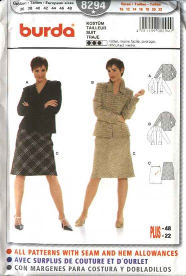 Burda Sewing Pattern 8294 Misses Size 10-22 Jackets  Skirt Suit