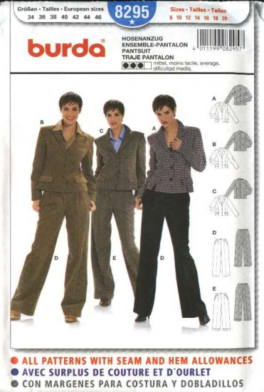 Burda Sewing Pattern 8295 Misses Size 8-20 Jackets Pants Suit