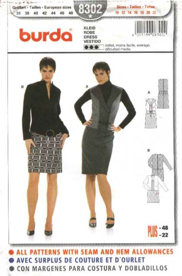 Burda Sewing Pattern 8302 Misses Size 10-22 Dress Short or Long Sleeves