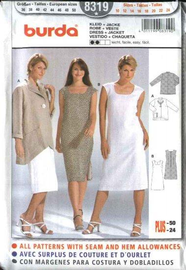 Burda Sewing Pattern 8319 Misses Size 10-24 Easy Jacket Sleeveless  Dress