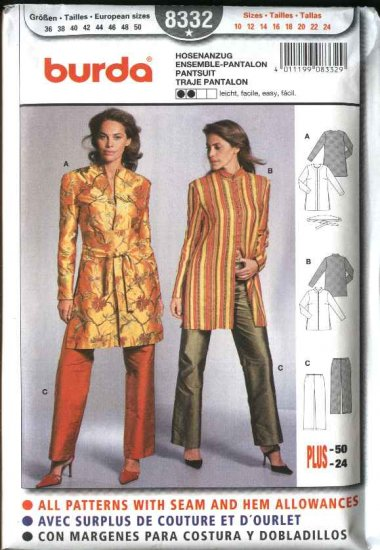 Burda Sewing Pattern 8332 Misses Size 10-24 Easy Tunic Pants Jacket Belt