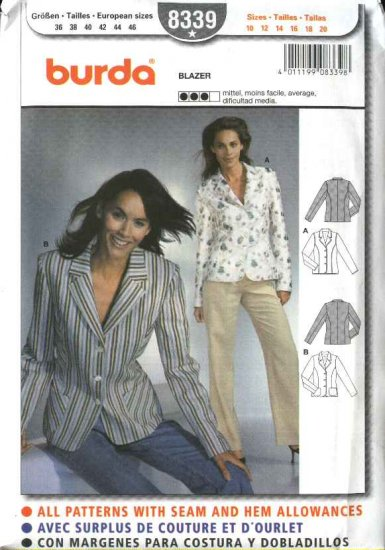 Burda Sewing Pattern 8339 Misses Size 10-20 Lined Blazers Jackets