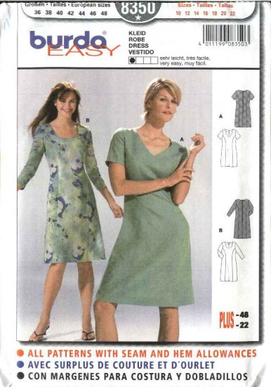 Burda Sewing Pattern 8350 Misses Size 10-22 Easy Classic Princess Seam Dresses