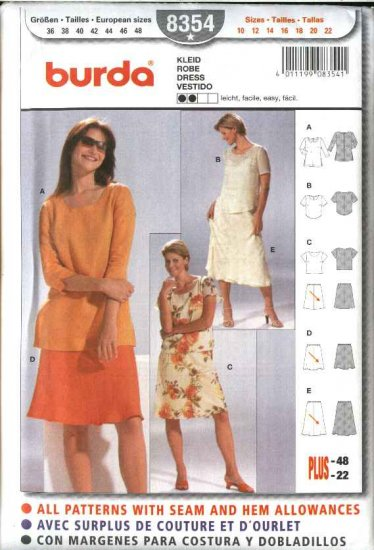 Burda Sewing Pattern 8354 Misses Size 10-22 Easy Blouses  Skirts 2-Piece Dress