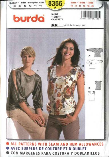 Burda Sewing Pattern 8356 Misses Size 10-20 Easy  Shirt T-Shirt Top