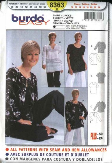 Burda Sewing Pattern 8363 Misses Size 10-24 Easy  T-Shirt Pullover Top  Jacket