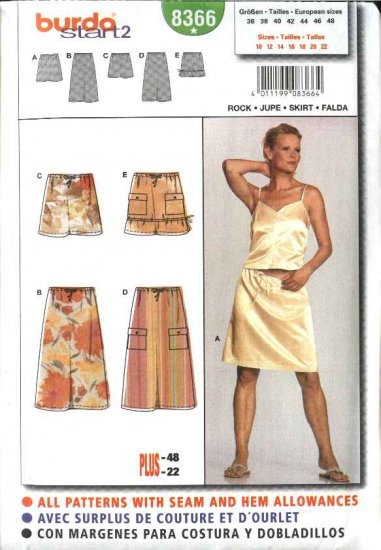 Burda Sewing Pattern 8366 Misses Size 10-22 Easy Skirts 5 Lengths