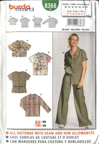 Burda Sewing Pattern 8368 Size Misses 12-24 Blouses Shirts Tops