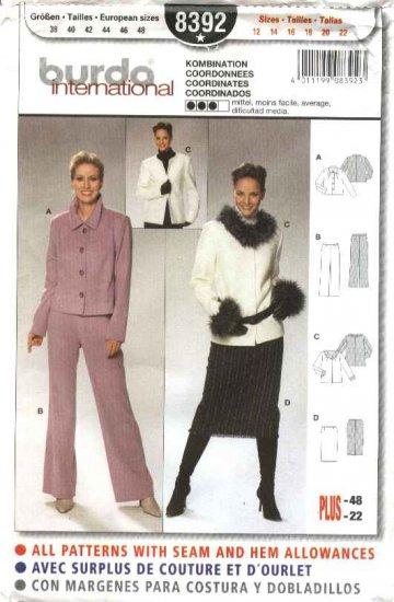 Burda Sewing Pattern 8392 Misses Size 12-22 Skirt Jacket Pants Suit