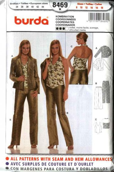 Burda Sewing Pattern 8469 Misses Size 8-18 Jacket Halter-Top  Pants