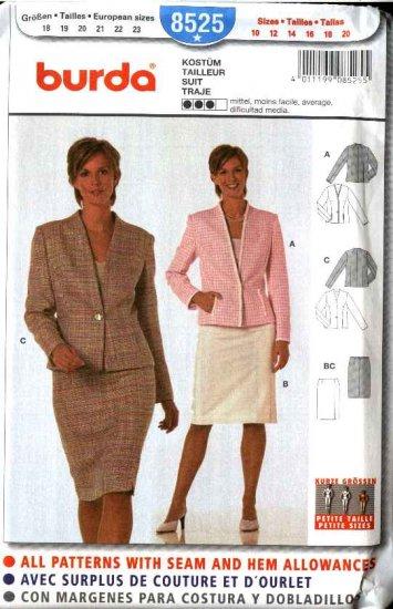 Burda Sewing Pattern 8525  Misses Petite Size 10-20  Suit Jacket Skirt