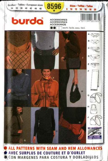 Burda Sewing Pattern 8596 Misses Size 8-20 Fashion Accessories Belts Scarf Purses Bags Handbags