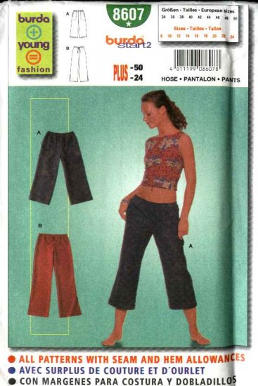 Burda Sewing Pattern 8607 Misses Size 8-24 Easy Pull-on Low-rise Hip-Pants