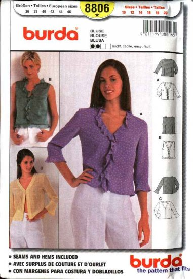Burda Sewing Pattern 8806 Misses Size 10-20 Easy Fitted Fashion Blouses