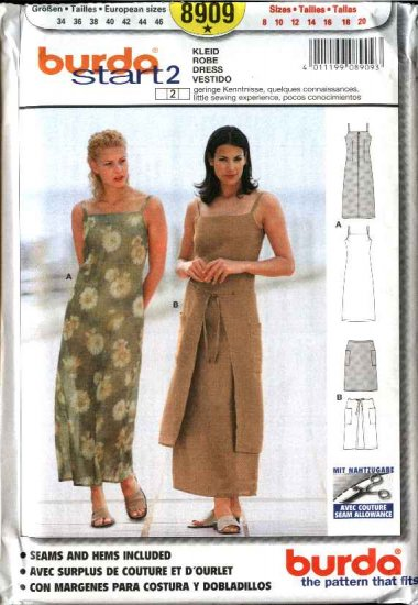 Burda Sewing Pattern 8909 Misses Size 8-20 Easy Fitted Dress & Overskirt