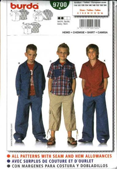 Burda Sewing Pattern 9700 Size 6-14 Boys' Easy  Loose Fitting Shirt jacket