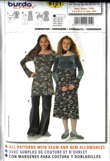 Burda Sewing Pattern 9721 Size 7-14jr Junior Easy Empire Dress Tunic Top Bell Bottom Pants