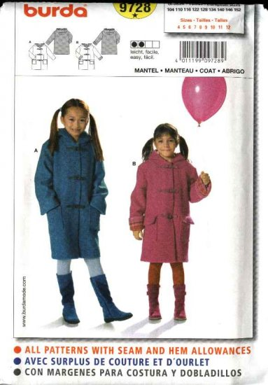 Burda Sewing Pattern 9728 Girls Size 4-12 Easy  Lined Hooded Duffle Coats