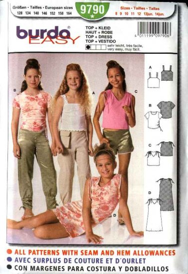 Burda Sewing Pattern 9790 Size 8-14jr Junior girls Easy Tops  Dress