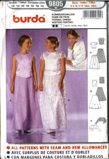Burda Sewing Pattern 9805 Junior Girls Size 8-14jr Formal Two-Piece Dress Top Skirt Bolero Shrug
