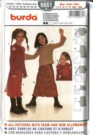 Burda Sewing Pattern 9861 Size 7-14jr Junior Girls Knit Skirts, Tops, Vest