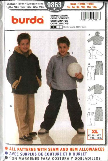 Burda Sewing Pattern 9863 Sz 7XL-12XL Boy Plus Hooded Jacket Shirt Pants