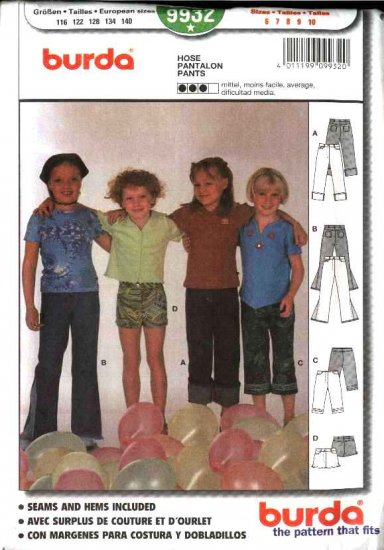 Burda Sewing Pattern 9932 Size 6-10 Girls' Pants Shorts Jeans