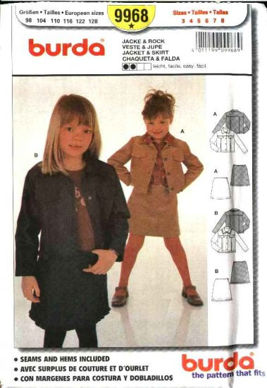 Burda Sewing Pattern 9968 Size 3-8 Girls' Easy Jean Jackets Skirts