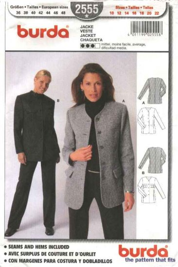 Burda Sewing Pattern 2555 Misses Size 10-22 Semi-fitted Lined Jacket Blazer