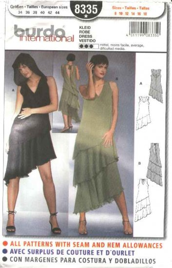 Burda Sewing Pattern 8335 Misses Size 8-18 Assymetrical Layered Dress