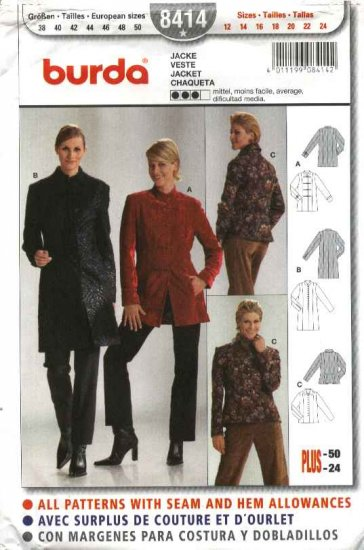 Burda Sewing Pattern 8414 Misses Sizes 12-24 Fitted Lined Jacket Coat