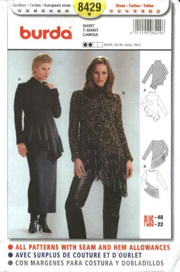 Burda Sewing Pattern 8429 Misses Sizes 10-22 Easy Knit Pullover Tops Tunics T-shirt