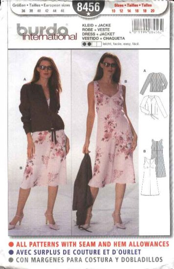 Burda Sewing Pattern 8456 Misses Sizes 10-20 Easy Jacket Empire Waist Dress