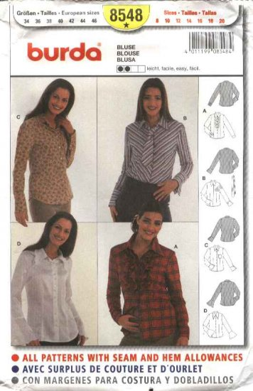 Burda Sewing Pattern 8548 Misses Sizes 8-20 Easy Blouse Shirt Top