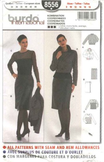 Burda Sewing Pattern 8556 Misses Sizes 8-18 Jacket Leather Wrap Skirt Top