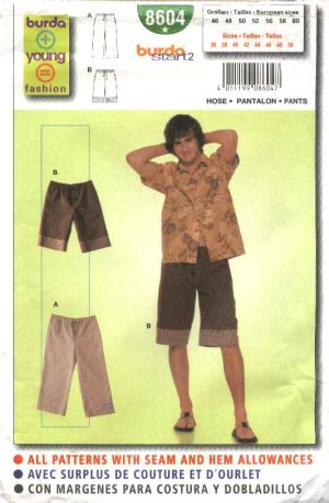 Burda Sewing Pattern 8604 Teen Boys Mens Sizes 36-50 Easy Shorts Pants