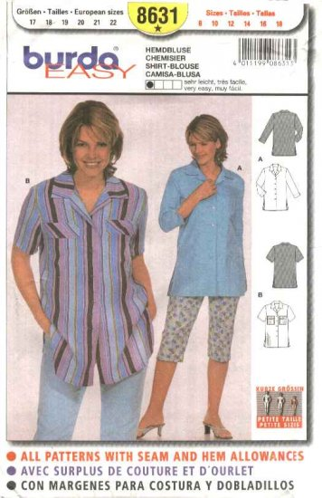 Burda Sewing Pattern 8631 Misses Sizes 8-18 Easy Shirt Blouse Top