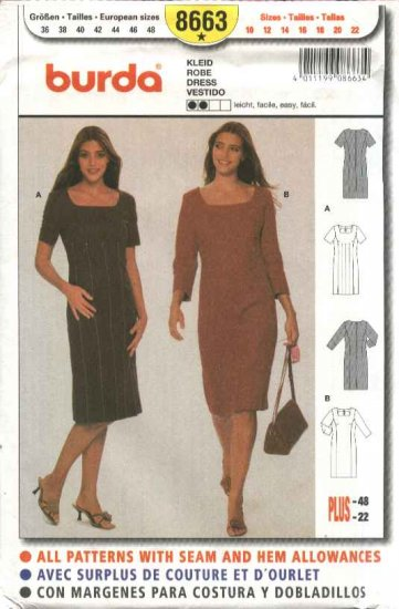 Burda Sewing Pattern 8663 Misses Sizes 10-22 Easy Dresses