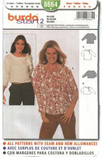 Burda Sewing Pattern 8664 Misses sizes 8-18 Easy Pullover Top Blouse
