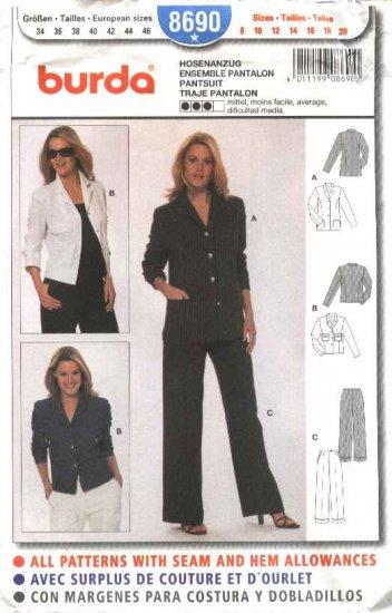 Burda Sewing Pattern 8690 Misses Sizes 8-20 Pantsuit Pants jacket