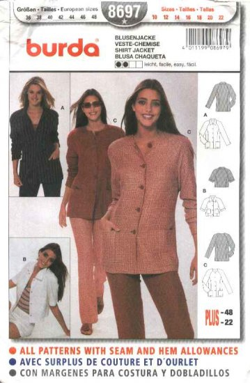 Burda Sewing Pattern 8697 Misses Sizes 10-22 Easy Shirt Jacket
