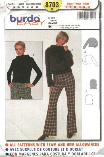 Burda Sewing Pattern 8703 Misses Sizes 8-18 Easy Pullover Top