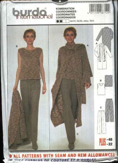 Burda Sewing Pattern 8712 Misses Sizes 10-22 Easy Duster Top Pants